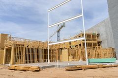 Large scale commercial construction site Stock Photos
