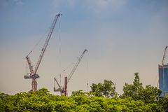 Large scale condominium construction site with the luffing jib t Stock Photo