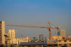 Large scale condominium construction site with the luffing jib t Stock Photography