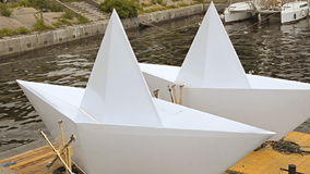 Large Scale Paper Boat Models Stock Photography