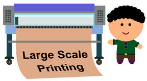 Large scale printer. A cartoon illustration of a man with a large scale printer royalty free illustration