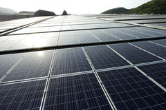 Large Scale Solar PV Rooftop Sunset Backlight Stock Photos