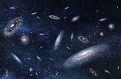 Large-scale structure of Multiple Galaxies in Deep Universe. 3D illustration. Royalty Free Stock Photo