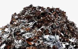 Large scrap pile. Large pile of metal scrap in a heap on dockside stock photography