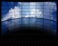 Large Screens with Clouds. Large Curved Screens with Clouds Stock Photos