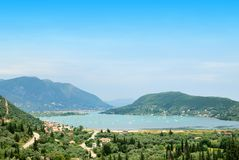 Large sea bay with ships and green hills Royalty Free Stock Images