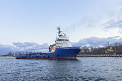 Large sea tug, entering the port, Gdansk, Poland - Panorama Royalty Free Stock Photography