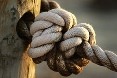 Large seamans rope knot stock photo