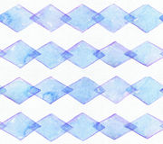 Large seamless raster texture with blue rhombus in horizontal rows on white watercolor paper. Creative grainy illustration hand dr Royalty Free Stock Photography