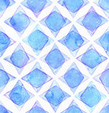 Large seamless raster texture with blue rhombus in overlapped shapes on white watercolor paper. Creative grainy illustration hand Stock Photos