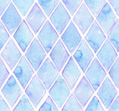 Large seamless raster texture with blue rhombus in solid design on white watercolor paper. Creative grainy illustration hand drawn Royalty Free Stock Image
