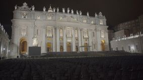 Large seating area for papal audience in Saint Peter's Square, Vatican City. Stock footage stock video