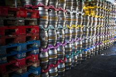 Large section of beer kegs awaiting distribution at brewery Stock Photos