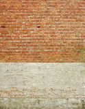 Large section  brick wall , with  painted white Royalty Free Stock Image