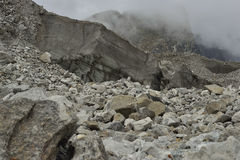 Large section from Khumbu glacier with layers made by ice, rocks, mud, small vegetation. Nepal. Stock Image