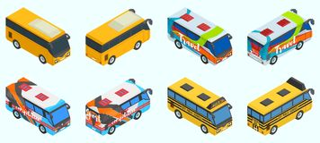 A large selection of buses in different versions stock illustration