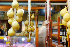 Large selection of cheeses on italian farmer market Royalty Free Stock Photo