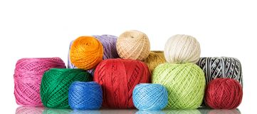 Large selection of cotton yarn in different shades isolated on white. Background Stock Photography