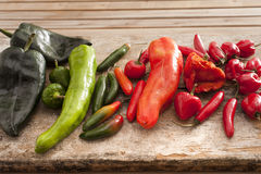 Large selection of fresh chili peppers Stock Images