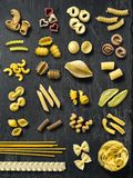 Large selection of pasta types Stock Photos