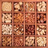 Large selection of peeled nuts, and kernels in shell, in wooden box with cells. Background royalty free stock images