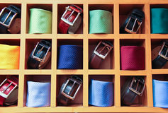 Large selection of ties and belts Royalty Free Stock Photo