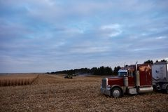 Large semi waiting at the edge of a maize field. Large semi and trailer waiting at the edge of a maize field during harvesting to be loaded with the harvested Royalty Free Stock Photo