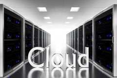 Large server room datacenter cloud symbol illustration Stock Photo