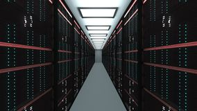 Large server room interior in datacenter, web network and internet telecommunication technology, data storage and cloud