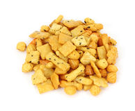 Large serving of rice cracker snack mix Royalty Free Stock Photo