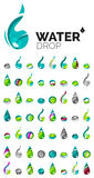 Large set of abstract eco water icons, business. Logotype nature green concepts, clean modern geometric design. Created with transparent abstract wave lines Royalty Free Stock Photography