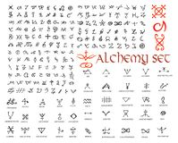 Large set of alchemical symbols isolated on white. Hand drawn elements for design. Mystical, esoteric, occult theme. Vector illustration stock illustration