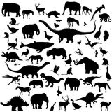 Large set of animals silhouettes Stock Photos