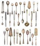 A large set of antiques isolated on a white background. Old spoon, fork, knife, kettle, steamer stock photo