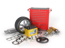 A large set of automotive parts and tool kit Royalty Free Stock Photos