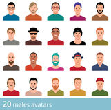 Large set of avatars attractive man. On a white background vector icons in flat style Royalty Free Stock Photography