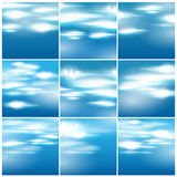 Large set of beautiful blue sky with clouds illust Stock Image