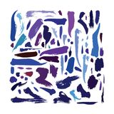 Large  set with bright blue, purple and aqua brush strokes. Hand drawn illustration, good for decoration, print and design Royalty Free Stock Photos