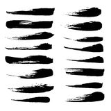 A large set of broad strokes texture in black ink Stock Photography