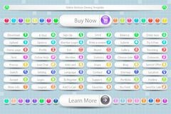 Large Set of Buttons for the Site stock illustration