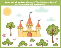 Large set of cartoon elements on the transparent background. The medieval castle, drawn trees, bushes, cute pink flowers, sun, fun vector illustration