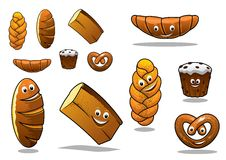 Large set of cartoon loaves of bread Royalty Free Stock Images