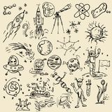 Large set of childrens contour drawings on a space theme. Big set of vector contour of childrens drawings on the theme of space, planets, astronauts, the aliens royalty free illustration