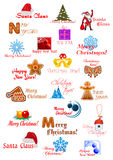 Large set with Christmas ornaments Royalty Free Stock Photography