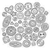 A large set of cloth buttons in different boho style designs wit Royalty Free Stock Image