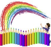A large set of colored pencils Stock Image