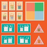 Large set of colorful CHristmas postage stamps. With present boxes. Vintage New Year decoration elements. Gift box package Royalty Free Stock Image