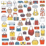 Large  set of colorful doodle fashion bags, hand drawn with black ink, isolated on white background. Illustration with group Royalty Free Stock Images