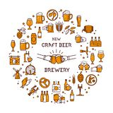 A large set of colorful icons on the topic of beer, its production and use in vector format. stock illustration