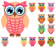 Large set of cute multicolored cartoon owls for children, different designs, trendy coral color. Included stock illustration